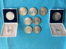 The Netherlands – 10 guilder coin 1973, 9 pieces – silver