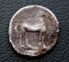 Spain - Cartagonova (Cartagena) - 1/2 shekel - towards the year 220-204 BC.  AB.424 - Rare.