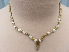 Egyptian necklace, with glass and stone beads - 42 cm + 2 cm.