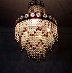 Brass and purple crystal chandelier, 21st century