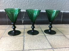 Three green wine glasses, Germany, 19th century