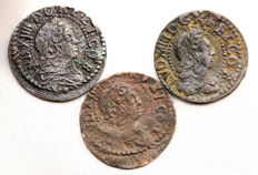 Spain - Luis CIV - lot of 1 copper Sise - 1645, 1647 and 1649 - Barcelona.