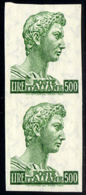 Italy 1970 – Saint George Lire 500 (variation: pair without perforation) – Sass.  No. 723/I Ea
