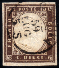 Sardinia 1861-1863 – 10 cents dark purplish brown – Sass.  No. 14Ac