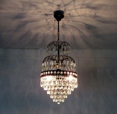 Black Brass and crystal chandelier, 21st century