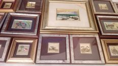 Beautiful lot of 22 small paintings finished in 22 kt gold leaf.