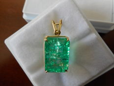 Gold pendant with 12.75 ct natural emerald ***No reserve price***
