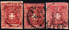 Tuscany, 1860 – 40 cent Provisional Government, 3 specimens in different colours – Sass.  No.  21, 21a, 21b