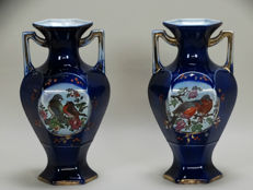 Burslem or Derby - Pair of cobalt blue vases