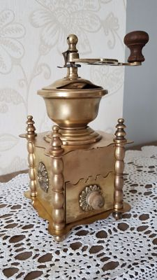 Antique, large and rare bronze pepper or coffee mill in brass