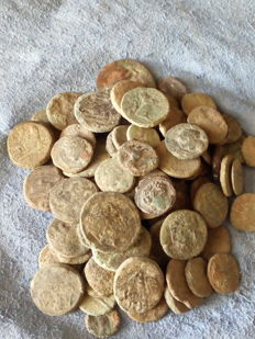 Greek Antiquity – Sicily. Lot Comprising 50 AE Coins, 5th-4th century BC.