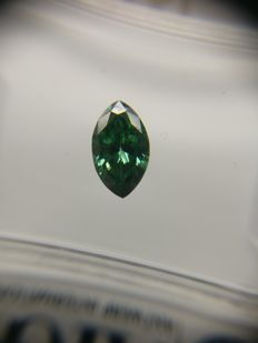 0.54 ct Marquise cut diamond Fancy Dark Bluish Green VVS2