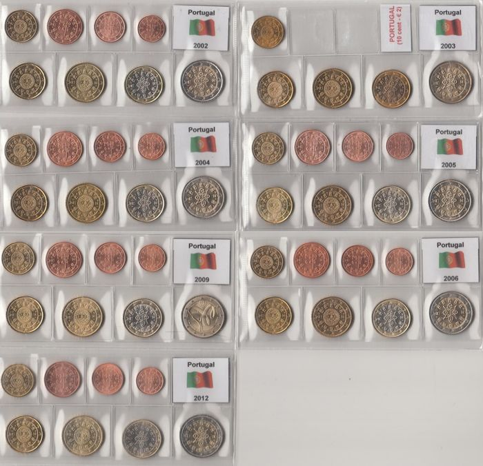 Portugal - Year packs euro coins 2002 through 2006, 2009 and 2012, complete