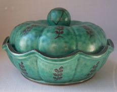Gustavsberg - Argenta ware Scalloped Lidded Bowl Sweden 898