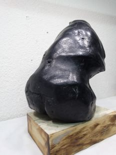 Abstractly styled female sculpture - signed