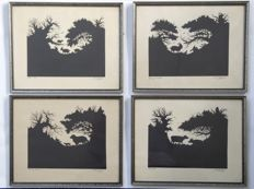 4 prints  by Johan Leksell (1874-1932) after silhouette cutouts - circa 1900