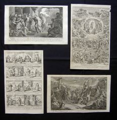 English School (18th century) - Lot of 4 Biblical prints - c. 1770