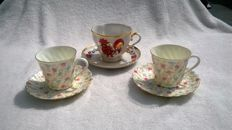 Russian Imperial Lomonosov - 3 cups and saucers.