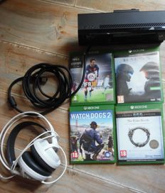 Xboxone Kinect  and  cable , headsets steelseriers and  4 games scratch free