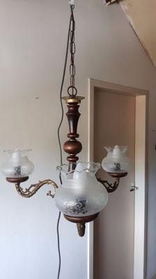 Antique hanging lamp with copper and mahogany