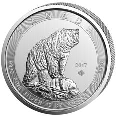 Canada - 50 Dollars -  2017 -  'Grizzly' - 10 OZ silver
