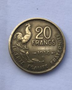 France – 20 Francs 1950 B Georges Guiraud '4-sickle tail' + 12 other coins of 20 Francs