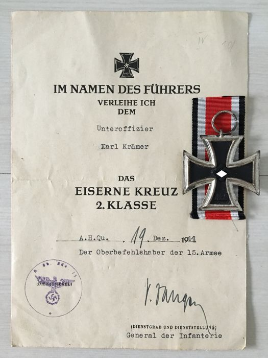 WW II Iron Cross 1939 2nd class with bestowal certificate