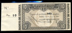 Spain - Bilbao - 10 Pesetas 1st January 1937, with printing matrix - Pick 107