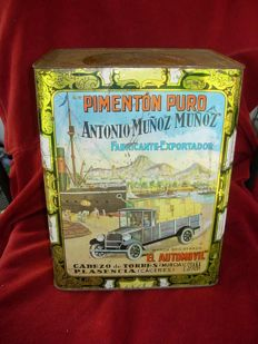 Antique metal can, El Automovil, Spain, ca. 1920