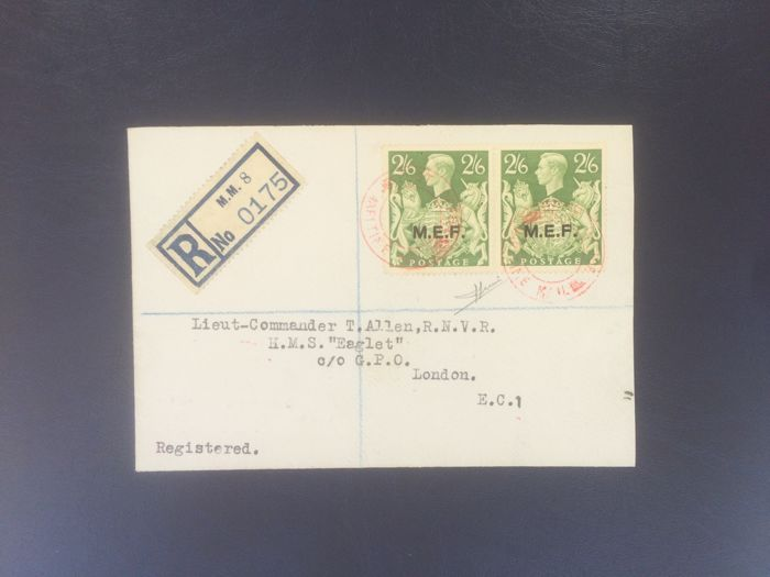 M.E.F. 1943-1947 – Foreign Occupation of the Colonies – 2/6 sh. yellow green, pair on registered mail addressed to London – Sass. No. 14