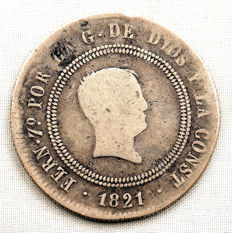 Spain – Fernando VII – 10 reales silver coin – 1821 – MADRID