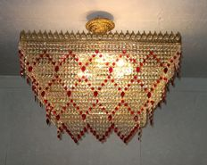Large brass and red crystal Rectangular Chandelier, 21th century