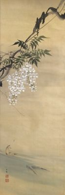 'Fish under blossoming Wisteria Tree' old handpainted scroll painting on cloth, sealed and signed with 石僊 (Sekisen) - Japan - ca. 1920