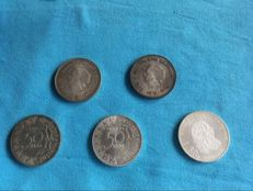 The Netherlands - mixed lot, 5 Euros/10 Euros / 10 guilders and 50 guilders (16 pieces) - silver