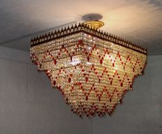 Extra Large brass and red crystal Rectangular Chandelier, 21th century