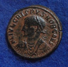 Roman Empire - Follis of Crispus (Caesar, 316-326) from Antioch's back camp gate!  (P636)