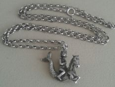 Solid silver pendant horse-fish with jasseron necklace