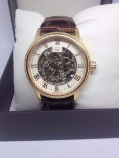 Rotary Men's Automatic Watch with White Dial Analogue Display and Brown Leather Strap