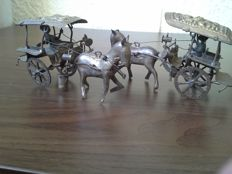 Two Asian Chariots, brass/copper/silver-plated.