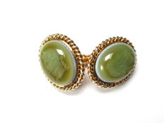 Tiffany & Co gold one single cuff link, green onyx intaglio.