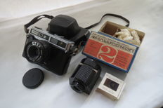 """Sokol-2"" 1977-1986.SSSR LOMO (Leningrad). The richest camera, the circulation is only 101200pcs. As a gift, a rare mechanical filmoscope ""Leningrad"" with slides."
