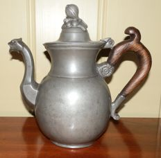 Antique pewter coffee pot Brussels 1854-1889