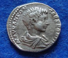 Roman Empire - AR denarius Emperor Caracalla beautiful boy portrait! (196-198 AD) (P626)