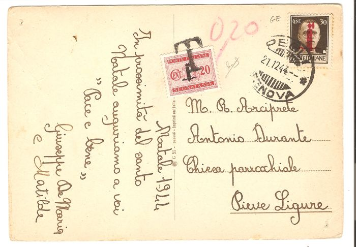 "Italy, RSI 1944 – Postcard from Pegli to Pieve Ligure, franked with 30 cents  ""Fasces"" of Genova (Genoa), 20 cents short and therefore taxed on arrival"