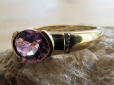 Gold unisex ring with natural Amethyst and 6x Diamonds. NO RESERVE PRICE