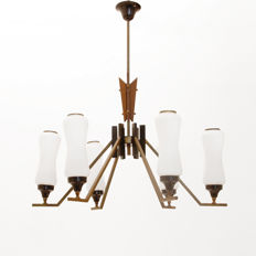 Unknown designer – Ceiling light in teak and glass