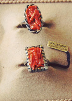 Two old rings inlaid with red coral