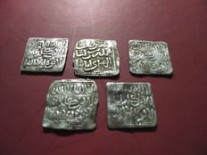 Al-Andalus – Almohad period (1148–1260). Lot of five square silver dirham coins, Islamic, Medieval, anonymous: no date or mint mark
