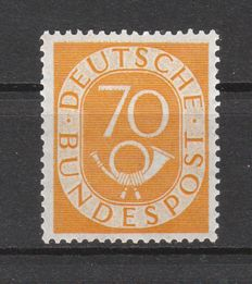 Federal Republic of Germany 1951 – Post Horn stamp 70 pfennig – Michel 136, inspected Schlegel BPP