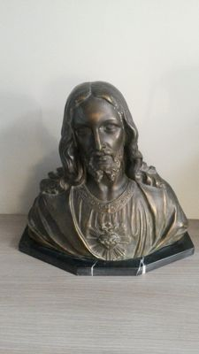 Christ plaster statue on marble surface 1st half 20th century Belgian - Signed: G.Parentani